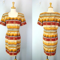 80s Vintage Tribal Dress, Southwestern Dress, South West Dress, 1980s Dress, Gold Red Brown Shift Dress, 80s Dresses, 1980s Dresses, M