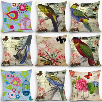 "Home Deco pillow parrot bird high quality Print Home Decorative Cushion 18"" Vintage Cotton Linen Square pillowcase MYJ-B7"