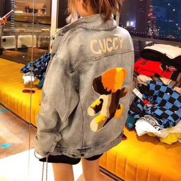 """Gucci"" Women Casual Fashion Bear Letter Embroidery Cardigan Long Sleeve Denim Jacket Coat"