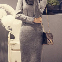 Gray Turtle-neck Long Sleeve Knitted Dress