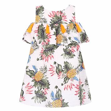 Baby Girls Dress with Tassel 2018 Summer Kids Dresses for Girls Costumes Banana Pineapple Print Princess Dress Girl Robe Enfant