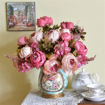 Lifelike High Quality Silk flower European 1 Bouquet Artificial Flowers Festive flower Vivid Peony Wedding Home Party Decoration