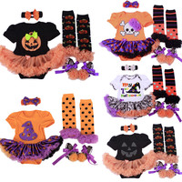 2016 Halloween Baby Girl Infant 4pcs Clothing Sets Romper Dress Jumpersuit+Headband+Shoes+Stockings Hgeteen Pumpkin Bebe Costume