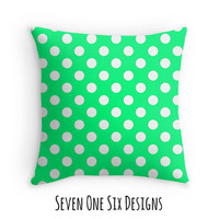 Green Polka Dot Pillow, Decorative Pillow, Polka Dots Decor, Throw Pillow