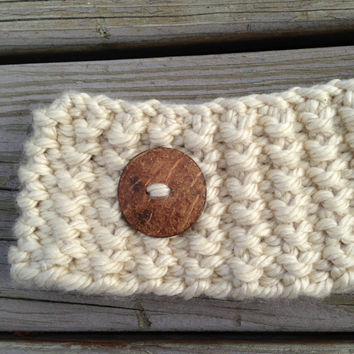 Chunky Winter Knit Headband with Button