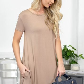 Piko 1988 Short Sleeve Pocket Dress | Taupe