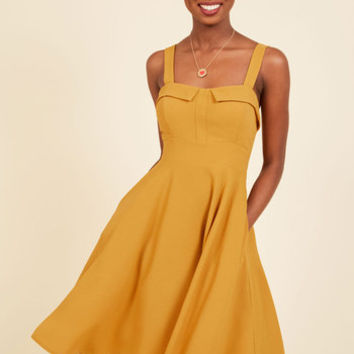 Pull Up a Cherry A-Line Dress in Marigold | Mod Retro Vintage Dresses | ModCloth.com