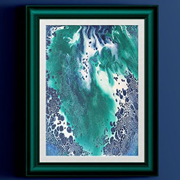 """Blue White Green Abstract Fluid Painting Fine Art Print // """"Riviera"""""""