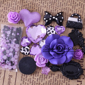 1set Dark purple crystal pearl flowers Mixed material kit for phone case deco