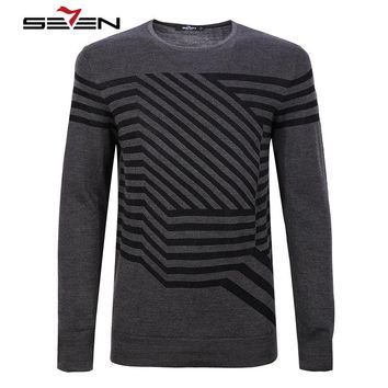 Seven7 2017 New High Quality Autumn Winter Men's Sweaters Pattern Slim Fit Men Pullover Knitted Sweater Male Clothing 111Y68010