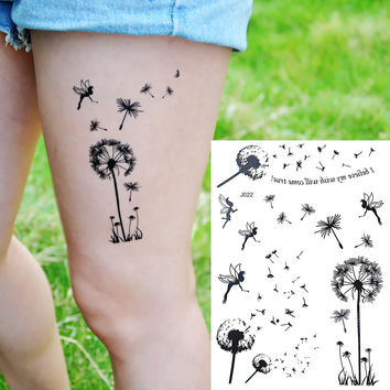 1PC Fashion Flash Waterproof Tattoo Women Black Ink Henna Jewel Sexy Lace BJ022 Dandelion Flower Fairy Temporary Tattoo Sticker