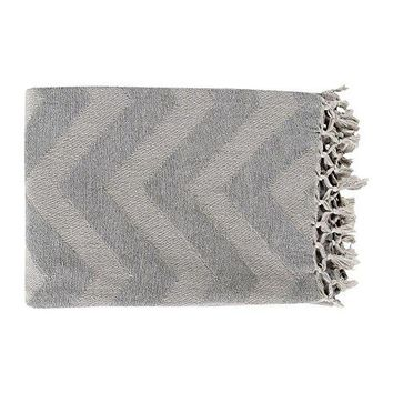 Ben and Jonah Zigzag Throw Blanket with Fringe (Medium Grey /Light Grey)