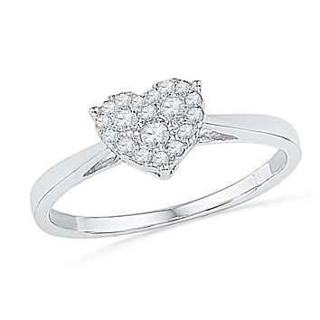 10kt White Gold Women's Round Diamond Simple Heart Cluster Ring 1/6 Cttw - FREE Shipping (US/CAN)