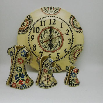 Handpainted Wall Clock and Caftan Set , Fast Free Shipping ,  Special Offer for Mothers Day