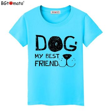 BGtomato HOT Summer Cool Women Fashion 3D MY BEST FRIEND DOG Design T shirt for Women Novelty Tops Lady Casual Short Sleeve Tees