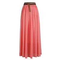 Amoin Women's Vintage Pleated Long Chiffon Maxi Boho Beach Skirt Dress