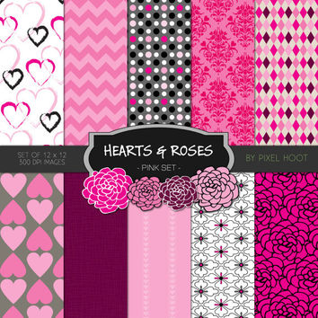 """Hearts & Roses Valentine Pink 12"""" x 12"""" Digital Paper and clip art set for scrapbooking, websites, blogs and more - INSTANT DOWNLOAD"""