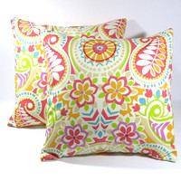 Pillow Cover 16 x 16 - Paisley Prism Sorbet; Accent pillow/decorative pillow cover for sofa, RV, dorm, bed, library/den ~ Throw Pillow