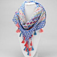 Blue Tassel Drop Chevron Scarf