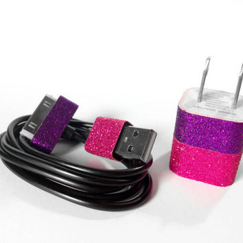 Purple & Pink Glitter iPhone 4/4S Charger and Cord by VanityCases