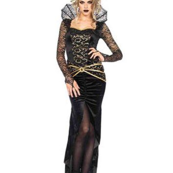 LMFH3W 2PC.Deluxe Evil Queen,high slit fishtail dress,imperial crown in BLACK/GOLD