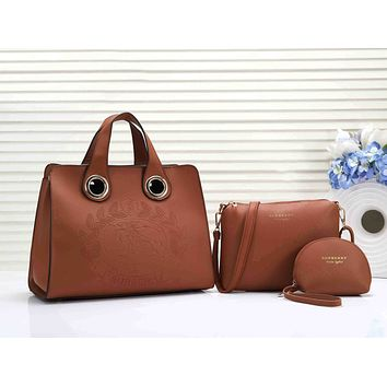 Burberry Popular Women Leather Handbag Tote Shoulder Bag Purse Set Three-Piece Brown