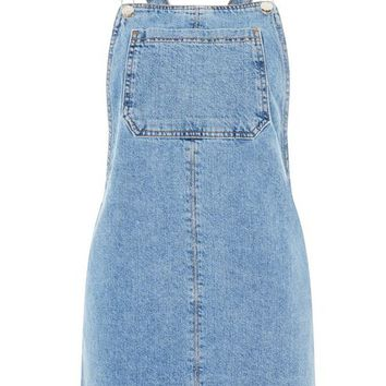 PETITE Denim Pinafore Dress - Dresses - Clothing