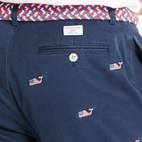 Embroidered Flag Whale Club Shorts