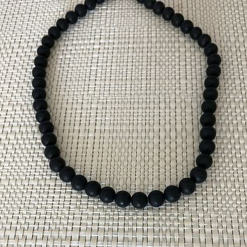 Mens Black Onyx Matte Beaded Necklace Long and Short