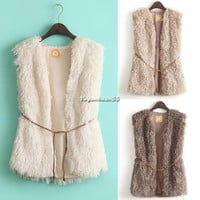 Womens Winter New Fashion Warm Faux Fur Long Vest Jacket Waistcoat Coat