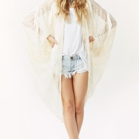 DOUBLE FRINGE LACE LONG CAPE