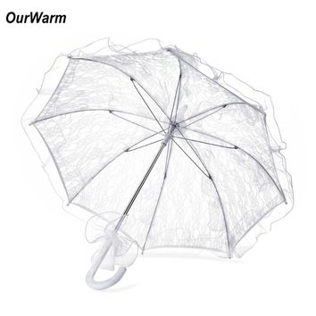 OurWarm White Lace Umbrella Wedding Parasol Umbrellas Sun Umbrella Wedding Decoration Event Party Supplies Hot Sale Cheap Price