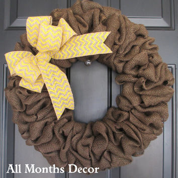 Brown Burlap Wreath with Yellow Chevron Burlap Bow, Rustic Country, Spring Easter Fall Winter, Year Round, Porch Door Decor
