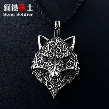 Steel soldier viking necklace thor howling wolf with black stone charm pendant necklace man punk jewelry stainless steel chain