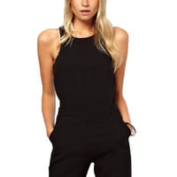 Summer Elegant Women's Rompers Jumpsuit Casual Solid Bodysuit Sleeveless Crew Neck Long Playsuits Plus Size