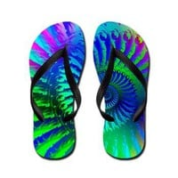Psychedelic Rainbow Blue Hippie Pattern Flip Flops> Rainbow Fractal Art Gifts> Hippy Gift Shop Funky Hippie Gifts