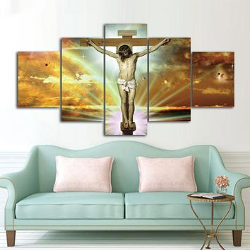 Jesus Cross Wall Art Picture Panel Print Home Decor Living Room Modular