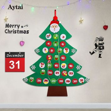 Aytai New Year for advent calendar Felt DIY Christmas Tree Kid's Gift Christmas Countdown Door Wall Hanging Decorations for Home