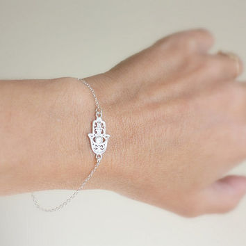 Silver hamsa bracelet - evil eye bracelet ,Sterling Silver Sideways Hamsa Bracelet, charm bracelet - Good Luck, Faith Jewelry
