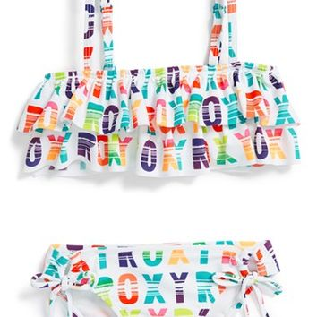 Roxy Ruffle Bandeau Two-Piece Swimsuit (Toddler Girls)