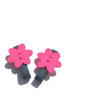 Pink Flower Button Hair Clips Set of 2 by SmiLeaGainCreations