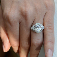 Oval Shaped Engagement Ring - Silver Art Deco Ring - Cubic Zirconia Ring - Promise Ring - Silver Estate Ring - Valentine's Day