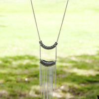 Fresno Silver Cutout Plated Tassel Drop Necklace