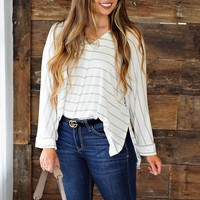 * Why Not Striped Top: Heathered Grey/White
