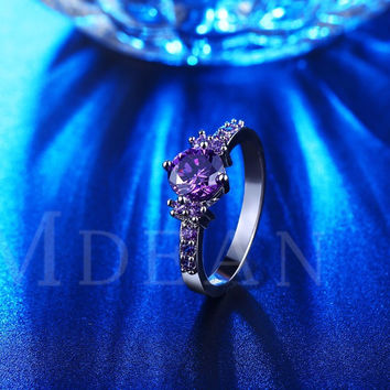 MDEAN White gold plated Rings For Women Purple Amethyst CZ Diamond Jewelry Engagement Bague Bijoux Wedding -0330