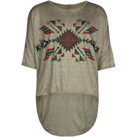 Full Tilt Tribal Stamp Girls Hi Low Tee Heather Grey  In Sizes