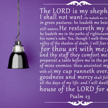The Lord's Prayer Vinyl Wall Decal Sticker. The Lord is my Shepherd Psalm 23