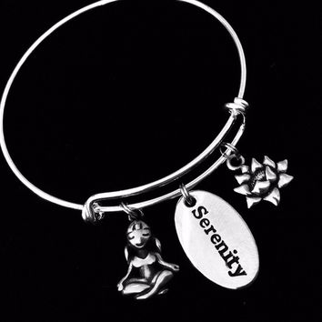 Lotus Yoga Girl Serenity Charm Bracelet Silver Adjustable Expandable Bangle Inspirational Jewelry One Size Fits All Gift
