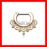 16g Gold Septum Clicker 14g Golden Celestial Filigree Septum Jewelry Earring Cartilage Piercing Tragus Ring Helix Conch Nose Belly Nipple