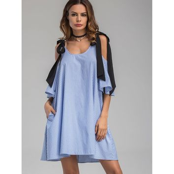 Contrast Tie Cold Shoulder Vertical Striped Dress